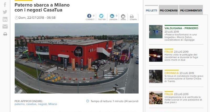 L'Adige - Paterno sbarca a Milano con i negozi CasaTua-min