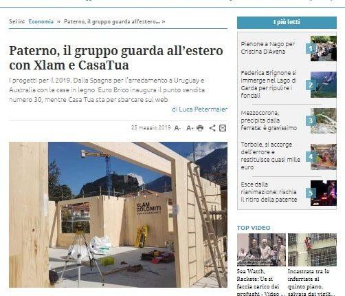 Trentino - Paterno, il gruppo guarda all'estero con Xlam e CasaTua-min
