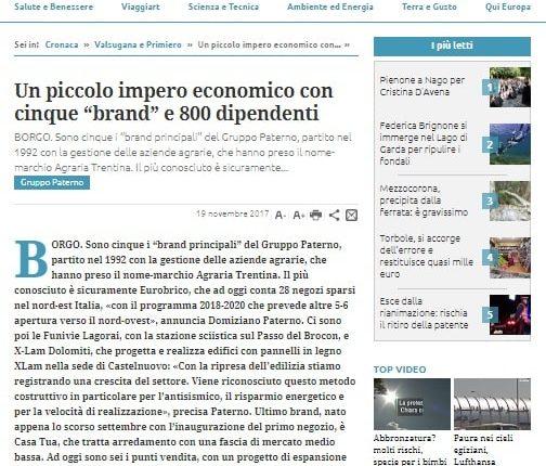 Trentino - Un piccolo impero economico con cinque brand e 800 dipendenti-min