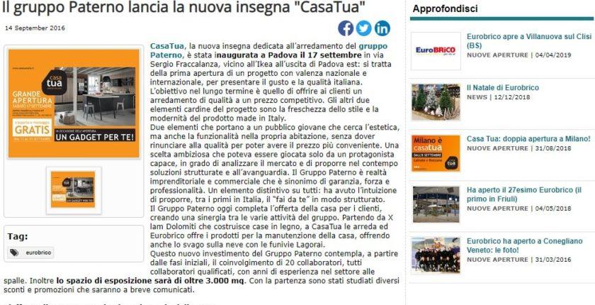 Il gruppo Paterno lancia la nuova insegna CasaTua