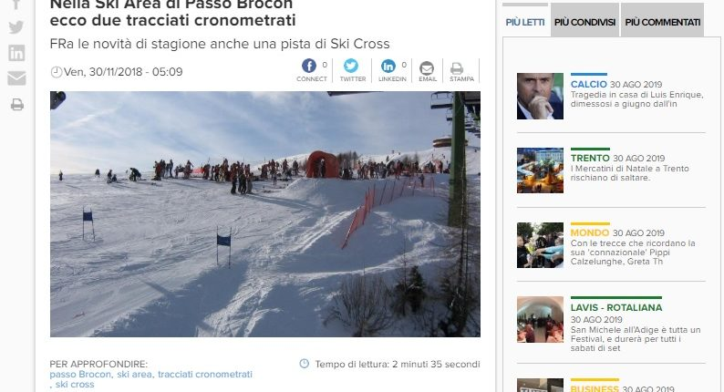 Nella Ski Area di Passo Brocon ecco due tracciati cronometrati
